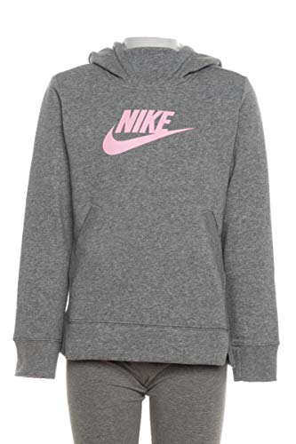 Nike Girls NSW Pullover Hoodie (Carbon Heather/Pink, Medium)