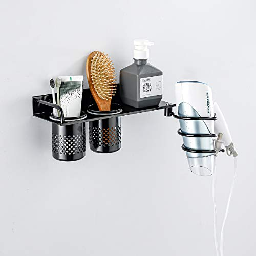 Hoinerus Adhesive or Drilling Hair Dryer Holder Bathroom Cosmetic Shelf Blow Dryer Bracket Hair Tools Organizer Matte Black