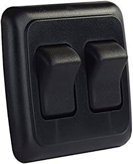 JR Products 12235 Black Double SPST On-Off Switch with Bezel