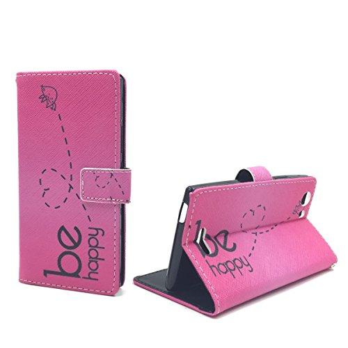 König Design Handyhülle Kompatibel mit Wiko Ridge 4G Handytasche Schutzhülle Tasche Flip Hülle mit Kreditkartenfächern - Be Happy Design Pink