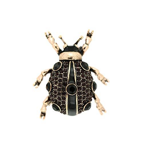 Sweet Deluxe Brosche Käfer, antikgold/schwarz I ausgefallene Blusenbrosche für Damen & Mädchen I Frauen-Brosche für Abendkleid & Bluse I Anstecknadel