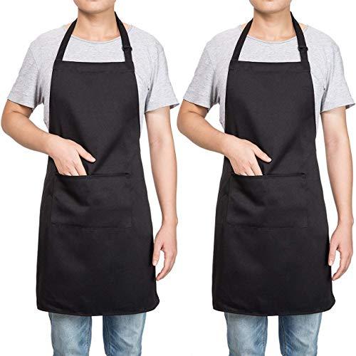 Homsolver 2 Pack Adjustable Bib Apron with 2 Pockets Liquid Drop Waterdrop Resistant Cooking Kitchen Restaurant Bar Apron Black Aprons Chef Apron Unisex Aprons for Women Men Black Apron Two Packs