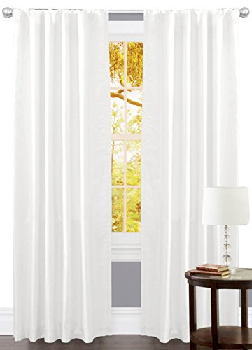 Linen Clubs Set of 2,100% Slub Cotton Duck Curtain White,Cotton Duck Reverse Tab Top Window Panels-50x72 inch,Machine washable for easy care