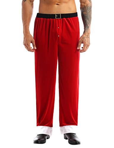 YiZYiF Men's Adult Christmas Santa Claus Velvet Long Pants Trousers Cosplay Costume Red Medium