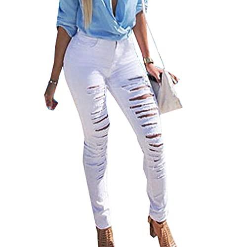 WJANYHN Pantalones Vaqueros Rasgados Grandes De Las Mujeres De La Moda Pantalones De Todo Partido EláSticos Deshilachados De La Personalidad De Moda De Las Mujeres