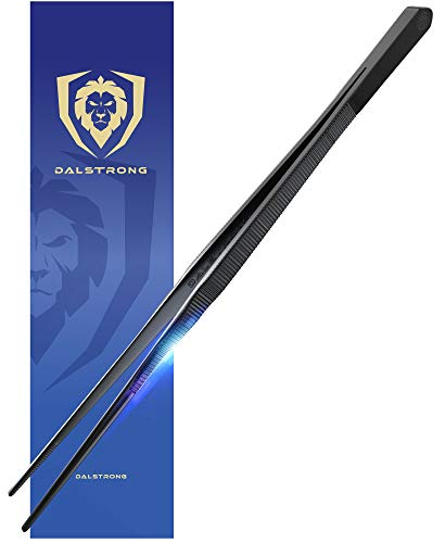 DALSTRONG - Professional Kitchen & Cooking Tweezers - High-Precision - Black Titanium Coated - 12' - BBQ, Plating, Multi-use