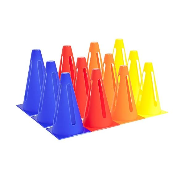 Crown Sporting Goods Set of 12 Collapsible 9″ High Hat Sport Cone Markers for...
