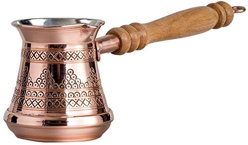 Dicke, massive Kupferkaffeekanne, türkisch, griechisch, arabisch, Cezve Ibrik Briki mit Holzgriff, dick 1,5 mm (klein – 200 g)