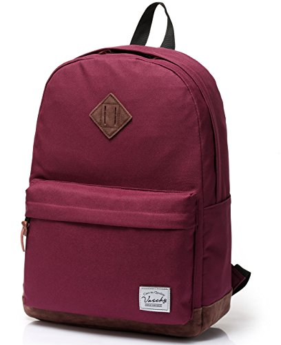 Backpack for Men and Women, VASCHY Water Resistant School Backpack Classic Water Resistant Rucksack Fits 15.6 Inches Laptop for Travel, Work, Outdoor, Burgundy