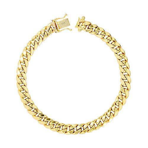 Nuragold hombres 14k oro amarillo de 6,5 mm enlace pulsera de cadena hueco cubana de miami, 7'- 9'