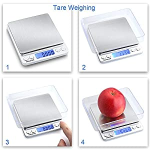 GDEALER Food Scale, 0.001oz Precise Digital Kitchen Scale Gram Scales Weight Food Coffee Scale Digital Scales for Cooking Baking Stainless Steel Back-lit LCD Display Pocket Small Scale, Silver