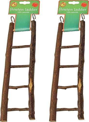 Houten ladder 5 traps natural 22cm per 2 stuks