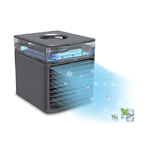 Ttkgyoe Personal Air Cooler, Portable Cooling Air Conditioner With USB, 4 in 1 Evaporative Coolers, Humidifier and Purifier, 7 Colors LED Night Desktop Cooling Fan for Office/Home/Travel/Dorm(Black)