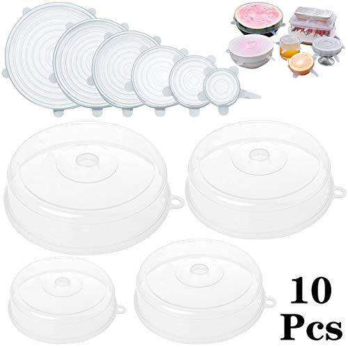 Fiyuer 10 Pcs tapa microondas silicona Colador Plastico para frutas verduras libre y no tóxico Transparente