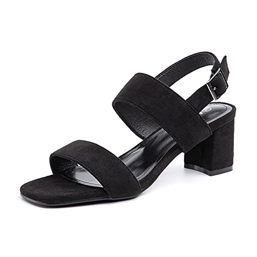 Sandalen Damen mit Absatz Sandaletten Plateau Sommer Knöchelriemen Sommerschuhe Frauen Blockabsatz Slingback Elegant Bequem Schwarz Größe 39 EU