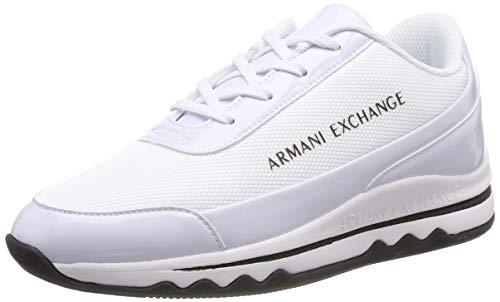 Armani Exchange Damen Nylon lace up Sneaker, Weiß (White/White A222), 41 EU