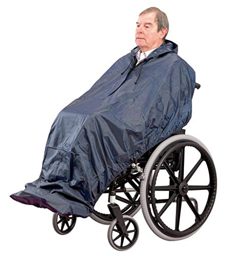 Homecraft Wheelchair Mac, Long Length, 100% Waterproof Poncho (Eligible for VAT Relief in the UK) Plastic Rain Protection, Complete Coverage Unisex Rainwear for Men, Women, Elderly, and Disabled