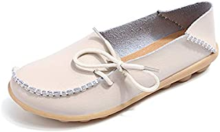 Exquisite Women Flats Summer Women Slipony Genuine Leather Shoes Slip On Ballet Bowtie Moccasins Ballet Flats Woman Shoes 24 Colors (Color : Beige, Shoe Size : 5)
