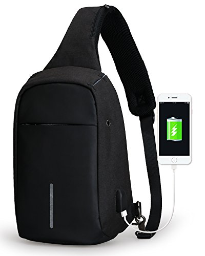 Small Sling Bag Chest Shoulder Backpack Cross Body Backpack Lightweight Multipurpose Daypack with USB Charging Port for Travel, Hiking,Cycling (black)