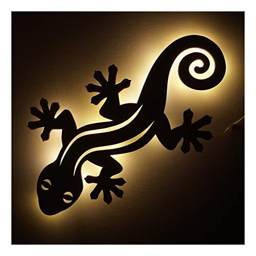 #013 Holz Geschenkartikel Geschenke I Led Lampe Nachtlicht Gecko für Eidechsen Fans