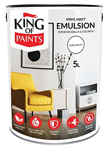 Pintura blanca para cocina y baño King of Paints, 5 litros, no gotea, lavable blanco bajo Voc