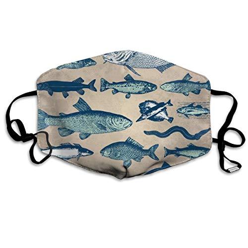 Máscara de boca con patrón de pez, ajustable, antipolvo, lavable, re