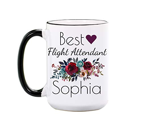 Flight Attendant Mug - Personalized Large 15 oz or 11 oz Ceramic Cup - Stewardess Gifts for Flight Attendants - Hostess Coffee Mugs for Women - Hostess Gift - Dishwasher & Microwave Safe - Made In USA