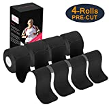 Udaily Kinesiology Tape Precut (4 Rolls Pack), Elastic Therapeutic Sports Tape for Knee Shoulder and Elbow, Breathable, Water Resistant, Latex Free