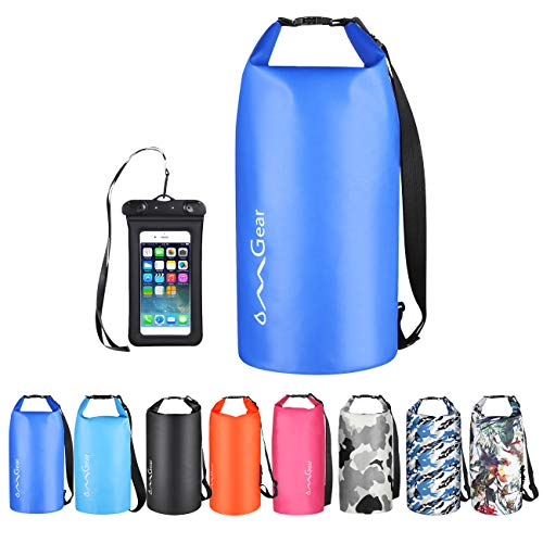 OMGear Waterproof Dry Bag Backpack Waterproof Phone Pouch 40L/30L/20L/10L/5L Floating Dry Sack for Kayaking Boating Sailing Canoeing Rafting Hiking Camping Outdoors Activities Dark Blue 40L