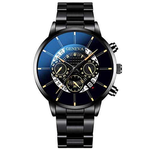Relojes Hombre Elegante Vestir,Fashion Cool Unique Digital Literal Multi Layer Dial Hombres Reloj De Correa De Malla De Cuarzo