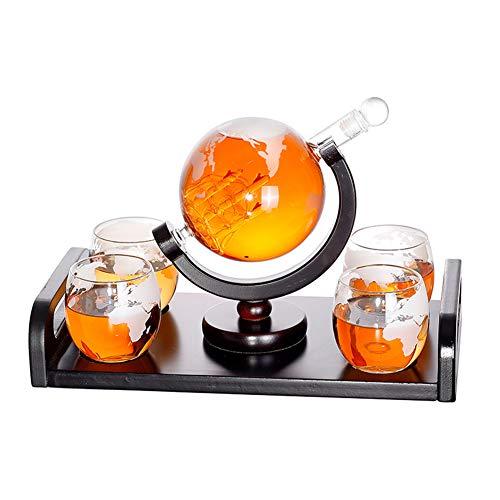 MSQL Whisky Decanter Globe Set con 4 Vasos con Grabado Mundi