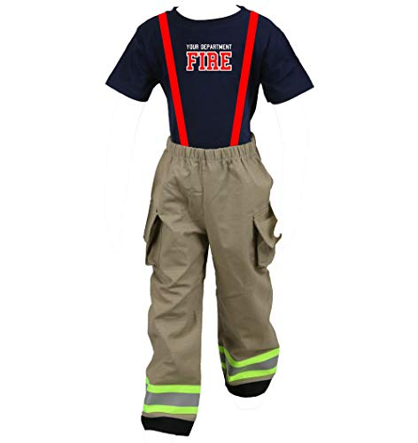 Personalized Firefighter Toddler Tan 2Pc Costume (4T)