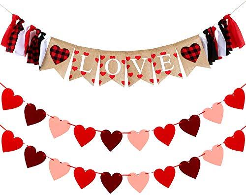 Sayala Decoración de Día de San Valentín Boda,I Love You Guirnalda | Guirnalda de Banderines de Corazón de Amor de San Valentín Decoración de Boda Cumpleaños Fiesta