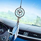 Dream Catcher Handmade Feather Double-Sided Deer Dreamcatcher Small for Car Interior Rearview Mirror Hanger Wall Bedroom Home Hanging Decor Boho Car Charms Pendant Ornament Accessories Home Decoration