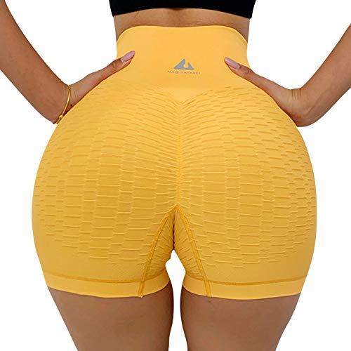 Frobukio Pantalones cortos de yoga para mujer, cintura alta, control de barriga, textura fruncida, para deporte, entrenamiento TikTok