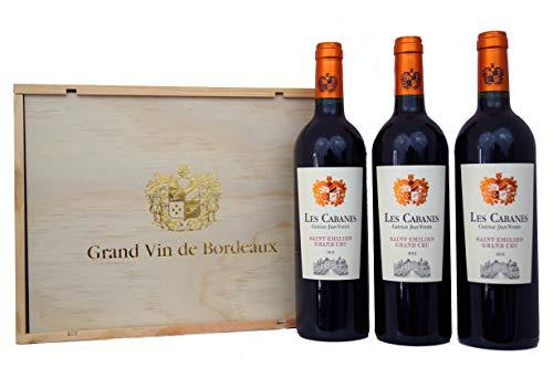 Geschenkset St. Emilion Grand Cru 2014 Bordeaux Rotwein Geschenk in Holzkiste (3 x 0.75 l)