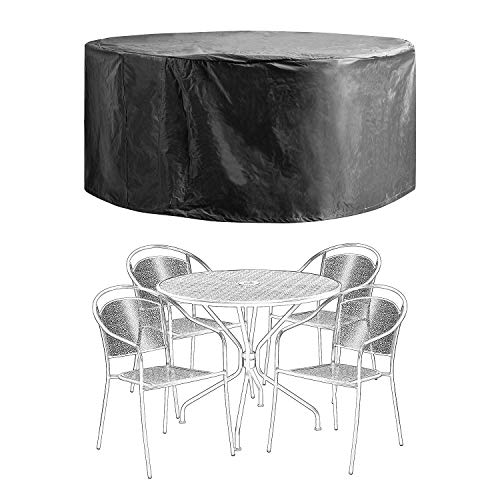 Patio Furniture Covers Outdoor Table Chair Set Covers Waterproof Heavy Duty Durable 60' D x 28' H Black