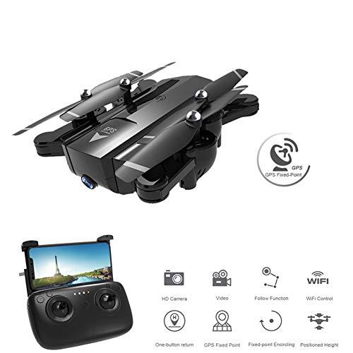 M3M GPS RC Drone Plegable 2.4G WiFi FPV Quadcopter Plegable con Cámara De Gran Angular 720P HD, Cámara Doble De Retorno con Una Tecla, Flujo De Luz Foto