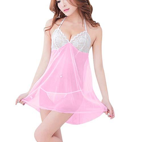 KIMODO Lencería Sexy para Mujer Camisola Ropa de Dormir Pijamas de Encaje Ropa Interior Traje camisón Mujeres Atractivas Tanga Sujetador Underwear