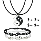 ButiShop Yin Yang Necklaces for 2 Best Friends with Adjustable Matching Cord Bracelets and Earring Studs for BFF Friendship Valentine's Boyfriend Girlfriend Relationship Gifts(4 Pairs Sets)