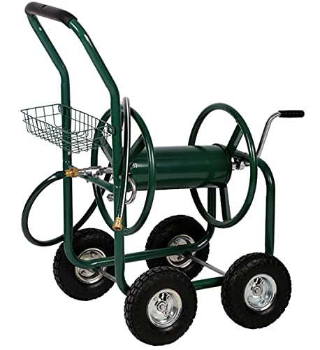 Garden Hose Reel Cart with Wheels , Outdoor Heavy Duty Garden Water Planting Holds 300 FT of 5/8 Inch Hose Metal Watering Planting Truck 4 Wheels with Storage Basket for Patio Lawn Garden Yard (Green)