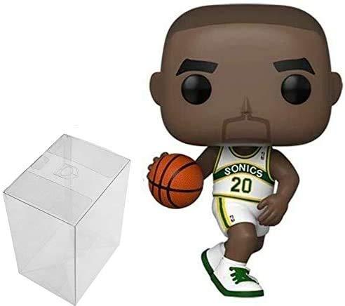 Gary Payton Seattle Supersonics - Figura de acción de Playera Blanca #80 Pop Sports NBA Legends (con protector Ecotek Pop para proteger la caja de la pantalla)