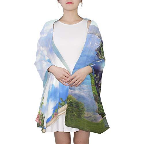 WYYWCY Hermosa arquitectura mediterránea Paisaje Moda bufanda única para las mujeres Moda ligera Otoño Invierno Imprimir bufandas Mantón envuelve regalos para principios de primavera
