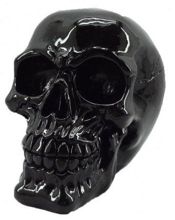 JapanAttitude Crâne décoratif Verni Noir 15.5cm, décoration d'intérieur Gothique Vampire Vintage