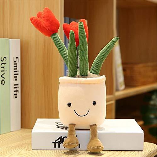 Hunpta @ 35cm Plüschtiere Dekokissen Tulpen Topfpflanzen Weich Plüsch Spielzeug Kuscheltier Puppe Festival Geburtstag Weihnachten für Junge Mädchen