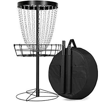 Yaheetech 24-Chain Portable Disc Golf Basket with Water Resistant Transit Bag Frisbee Golf Basket Target Practice Metal Disc Golf Targets for Indoor & Outdoor Disc Sports Black