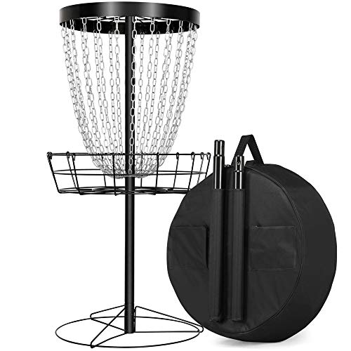 YAHEETECH 24-Chain Portable Disc Golf Basket Target Frisbee Golf Basket Practice Metal Disc Golf Targets with Water Resistant Transit Bag Indoor & Outdoor Disc Sports, Black