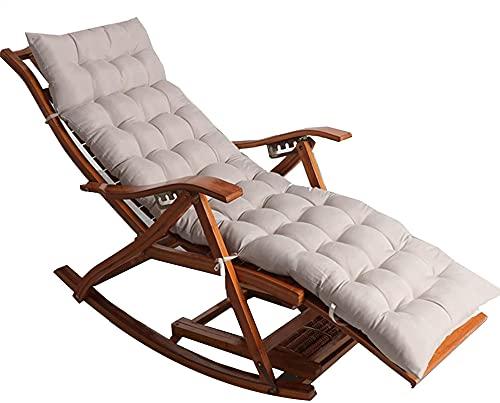 OUMIFA Sillones de salón y tumbonas Bambú Silla Mecedora Plegable con algodón y reposapiés extendido reclinable Respaldo Ajustable