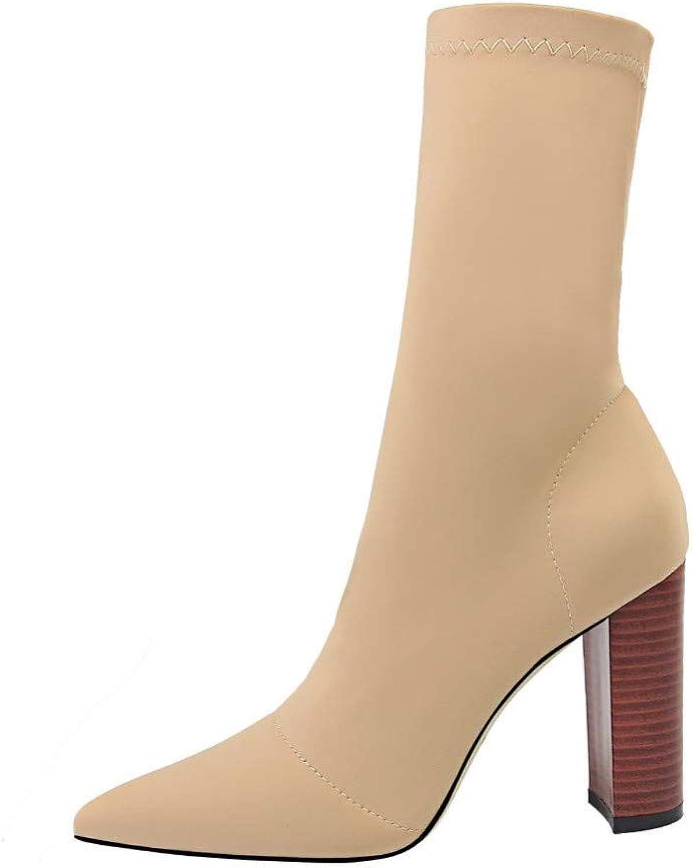 BASLA High Heel Stiefelies Mode Büro Dame Socke Stiefel Hohe Block Heels Pumps Spitz Lycra Stiefelies Platz Ferse Slip On All Match Schuhe  | Gewinnen Sie das Lob der Kunden