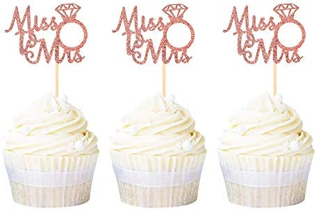 Ercadio 24 Pack Miss to Mrs Cupcake Toppers Rose Gold Glitter Wedding Ring Cupcake Picks Bridal product image